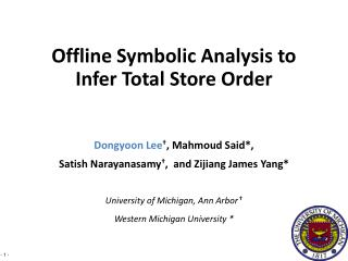Dongyoon  Lee † ,  Mahmoud  Said*,  Satish Narayanasamy † ,  and  Zijiang  James Yang*