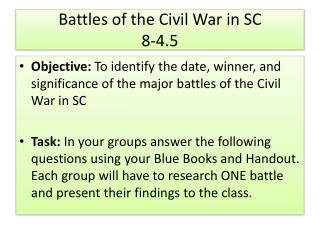 Battles of the Civil War in SC 8-4.5
