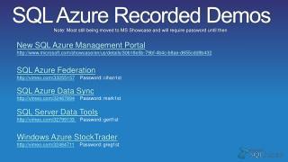 SQL Azure Recorded Demos