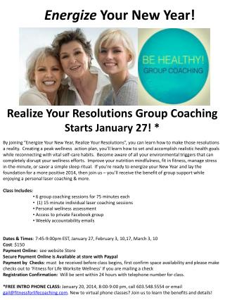 Realize Your Resolutions Group Coaching Starts January 27 ! *