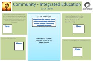 Community - Integrated Education  Zach Taylor