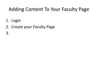 Adding Content To Your Faculty Page