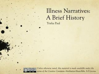 Illness Narratives:  A Brief History