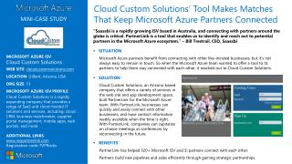 MICROSOFT AZURE ISV :  Cloud  Custom  Solutions WEB SITE :  cloudcustomsolutions
