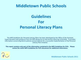 Middletown Public Schools Guidelines For Personal Literacy Plans
