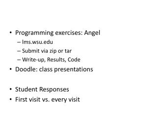 Programming exercises: Angel lmsu Submit via zip or tar Write-up, Results, Code