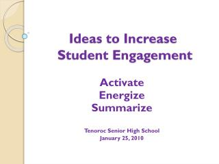 Ideas to Increase  Student Engagement