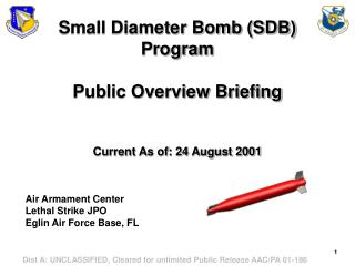Small Diameter Bomb SDB Program   Public Overview Briefing   Current As of: 24 August 2001
