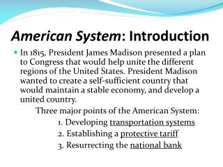 American System : Introduction
