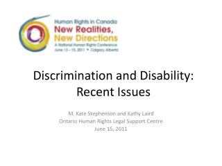 Discrimination and Disability:  Recent Issues