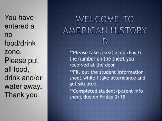Welcome to American History B