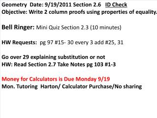 Geometry  Date: 9/19/2011 Section 2.6    ID Check