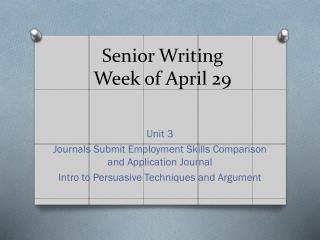 Senior Writing Week of April 29