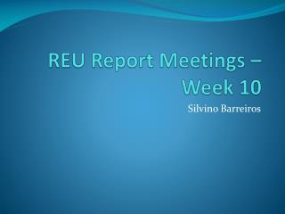 REU Report Meetings – Week  10