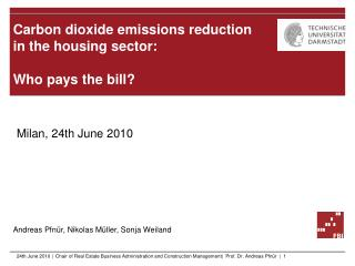 Carbon dioxide emissions reduction  in  the housing sector :  Who pays the bill ?