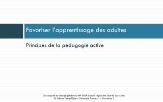 Favoriser l'apprentissage des adultes