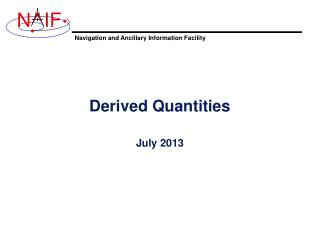 Derived Quantities