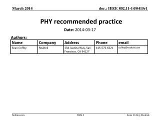 PHY recommended practice