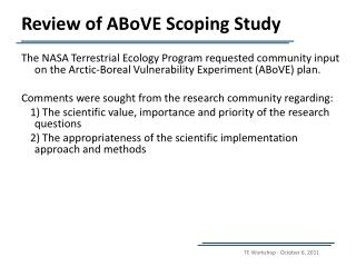 Review of ABoVE Scoping Study