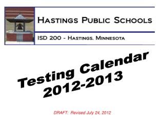 Testing Calendar 2012-2013