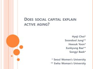 Does social capital explain active aging?