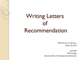 Writing Letters  of  Recommendation