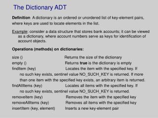 The Dictionary ADT