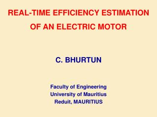 Real-Time Efficiency Estimation of an Electric Motor