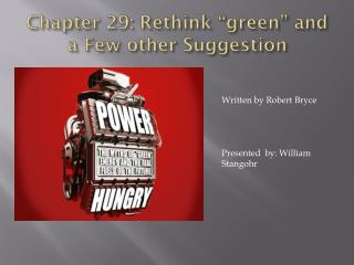 "Chapter 29: Rethink  "" green""  and a Few other Suggestion"