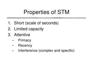 Properties of  STM