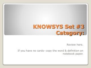 KNOWSYS Set #3 Category: