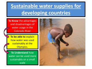 Sustainable water supplies for developing countries
