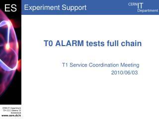 T0 ALARM tests full chain