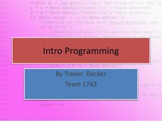 Intro Programming