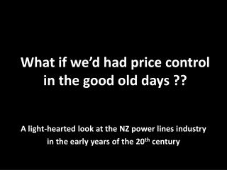 What if we'd had price control in the good old days ??