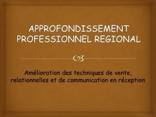 APPROFONDISSEMENT PROFESSIONNEL REGIONAL