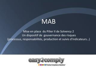MAB Mise en place  du Pilier II de  Solvency  2  Un dispositif de gouvernance des risques