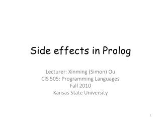 Side effects in Prolog