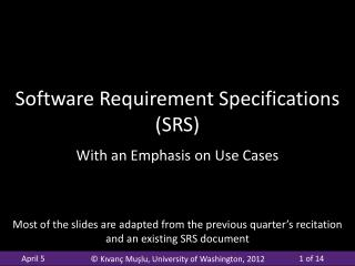 Software Requirement Specifications (SRS)