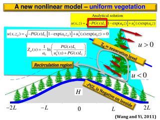 A new nonlinear model –  uniform vegetation