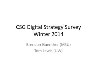 CSG Digital Strategy Survey Winter 2014