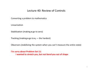 Lecture 40: Review of Controls