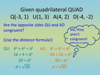 Are the opposite sides QU and AD congruent?