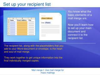 Set up your recipient list