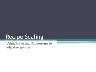 Recipe Scaling