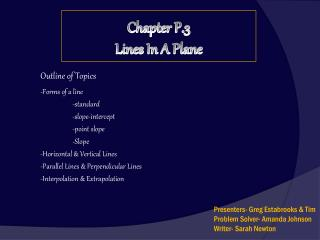 Chapter P.3 Lines In A Plane