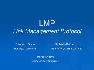 LMP Link Management Protocol