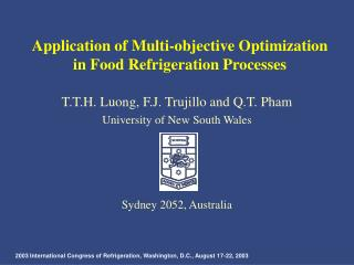 Application of Multi-objective Optimization in Food Refrigeration Processes
