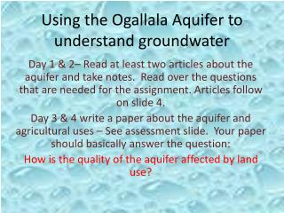 Using the Ogallala Aquifer to understand groundwater