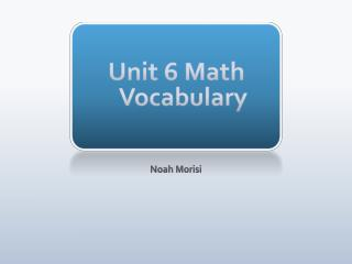 Unit 6 Math Vocabulary